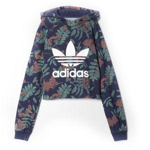 Adidas Tropical Print Crop Hoodie Sweatshirt